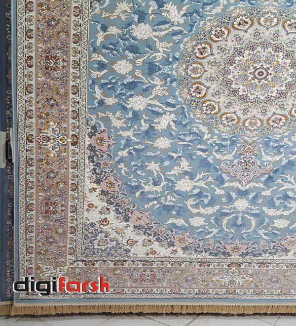 فرش نیاوران 1200 شانه گل برجسته آبی کد 3654