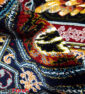 فرش ماشینی طرح باغ ارم کاشان 700 شانه نیاوران زمینه سرمه ای 100% اکرولیک بدون پرز تراکم 2550 کد 630