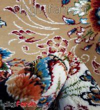 فرش ماشینی کاشان 700 شانه نیاوران بادامی رنگ صددرصد اکرلیک تراکم 2550 کد 618
