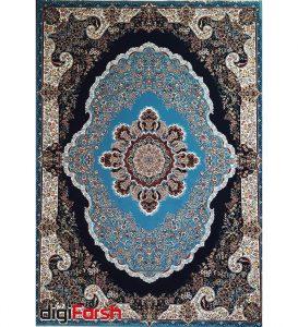 فرش نیاوران طرح بهار زمینه آبی مدل 700 شانه تراکم 2550 کد 700596