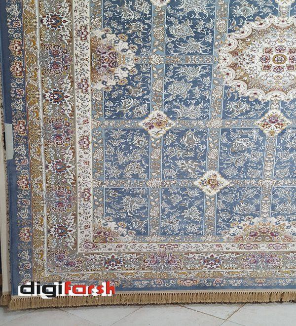 فرش نیاوران 1200 شانه گل برجسته آبی