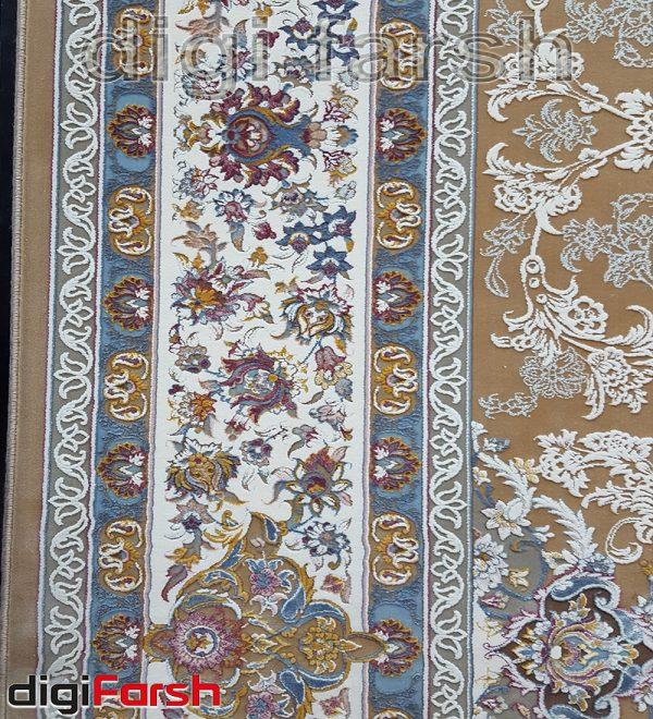 فرش ماشینی کاشان 1200 شانه نیاوران زمینه بژ گل برجسته تراکم 3600 کد 3654