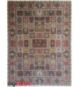فرش ماشینی کاشان 1000 شانه ستاره فروزان طرح خشتی زمینه کرم صد در صد اکریلیک تراکم 3000 کد 471017