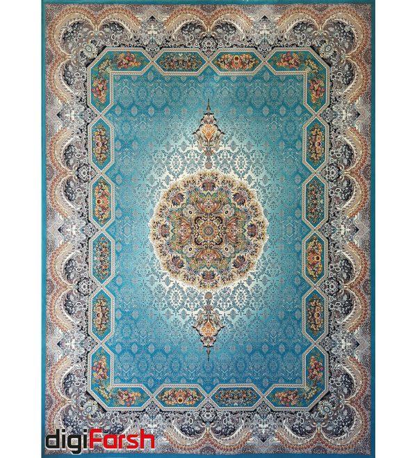 فرش ماشینی کاشان 1200 شانه ستاره فروزان طرح هالیدی زمینه آبی صد در صد اکریلیک تراکم 3600 کد 471213