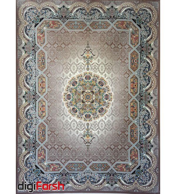فرش ماشینی کاشان 1200 شانه ستاره فروزان طرح هالیدی زمینه بژ صد در صد اکریلیک تراکم 3600 کد 471213