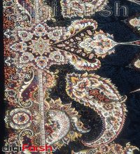 فرش ماشینی کاشان 1000 شانه ستاره فروزان طرح اقاقی زمینه سرمه ای صد در صد اکریلیک تراکم 3000 کد 471019