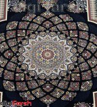 فرش کاشان ۱۰۰۰ شانه طرح لوکس زمینه سرمه ای تراکم ۳۰۰۰ کد ۴۷۱۰۵۲