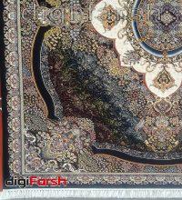 فرش ماشینی کاشان 1000 شانه ستاره فروزان طرح ترلان زمینه سرمه ای صد در صد اکریلیک تراکم 3000 کد 471016