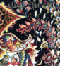 فرش ماشینی کاشان 1000 شانه طرح نسترن زمینه سرمه ای صد در صد اکریلیک تراکم 3000 کد 471014