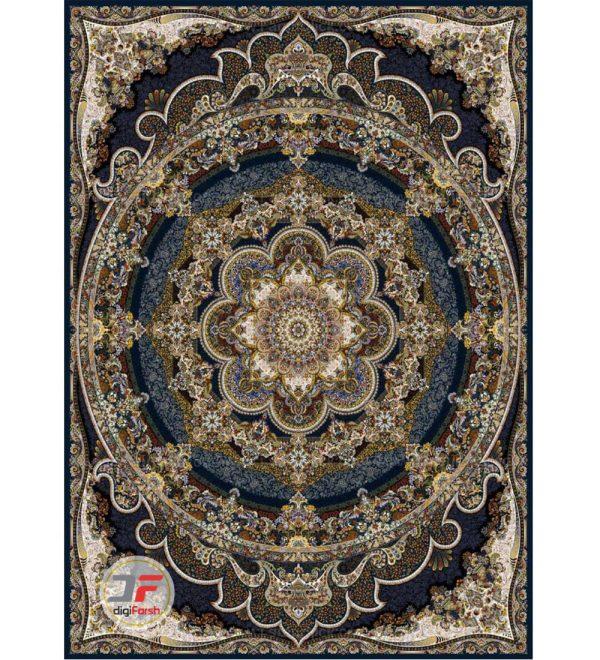 فرش قیطران طرح یاسمن 1200 شانه زمینه سرمه ای  کد 461251