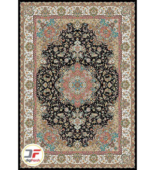 فرش نیاوران طرح تبریز سرمه ای 700 شانه کاشان کد 700583