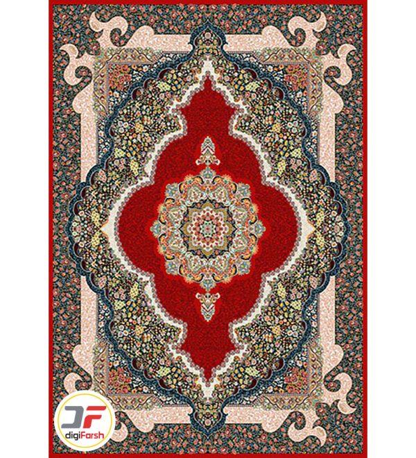 فرش ماشینی طرح سلطان زمینه لاکی 700 شانه نیاوران کاشان تراکم 2550 کد 700592