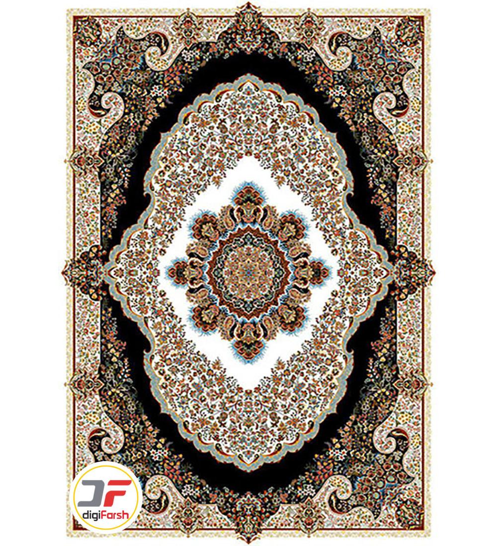 فرش ماشینی نیاوران طرح بهار کرم مدل 700 شانه تراکم 2550 کد 700596