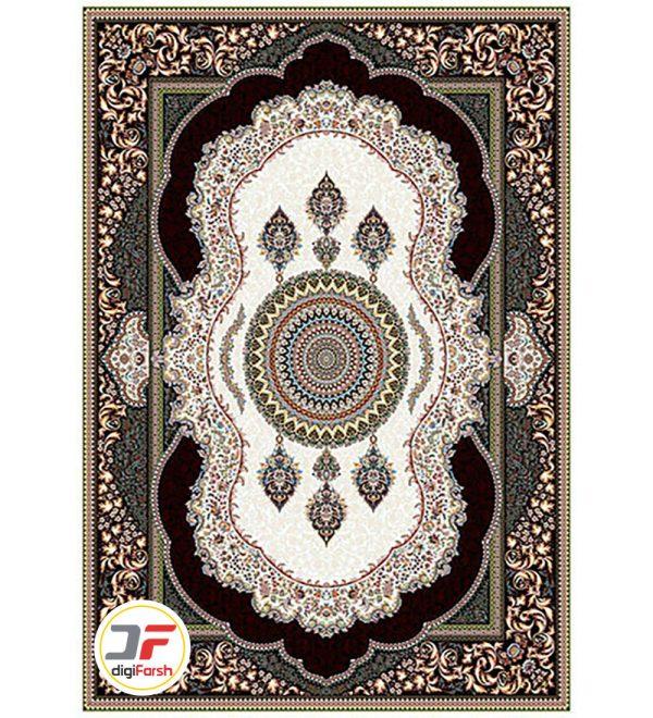 فرش ماشینی نیاوران طرح کهربا کرم 700 شانه نیاوران تراکم 2550 کد 700597