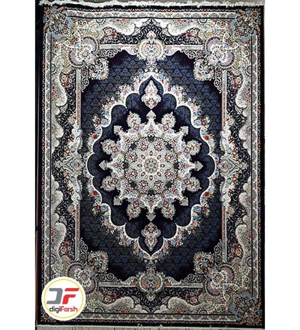 فرش ماشینی طرح نیلا 700 شانه زمینه سرمه ای نیاوران کد 700638