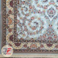 فرش نیاوران ۷۰۰ شانه طرح افشان زمینه آبی (فیروزه ای) کد ۷۰۰۶۴2