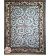 فرش نیاوران طرح افشان کاشان ۷۰۰ شانه زمینه آبی (فیروزه ای) کد ۷۰۰۶۴۲