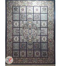 فرش نیاوران ۷۰۰ شانه طرح خشتی زمینه سرمه ای کد ۷۰۰۶۴۶