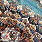 فرش 700 شانه نیاوران کاشان زمینه آبی کد 700634