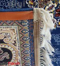 فرش ماشینی کاشان 1000 شانه طرح لوکس زمینه آبی صد در صد اکریلیک تراکم 3000 کد 471052