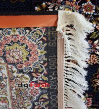 فرش ماشینی کاشان 1000 شانه طرح ستاره زمینه سرمه ای صد در صد اکریلیک تراکم 3000 کد 471020