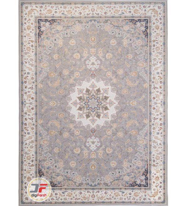 فرش ماشینی 1500 شانه کاشان طرح گل گشت سیلور حاشیه کرم کد 541509