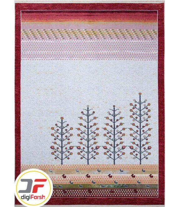 فرش وینتیج 500 شانه با زمینه سفید طرح درخت کد 53666
