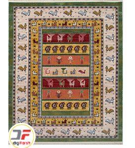 فرش وینتیج 500 شانه دیجی فرش زمینه سبز کد 53800