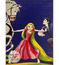 فرش دخترانه طرح گیسو کمند و اسب بداخلاق کد ۱۸۰۴۳