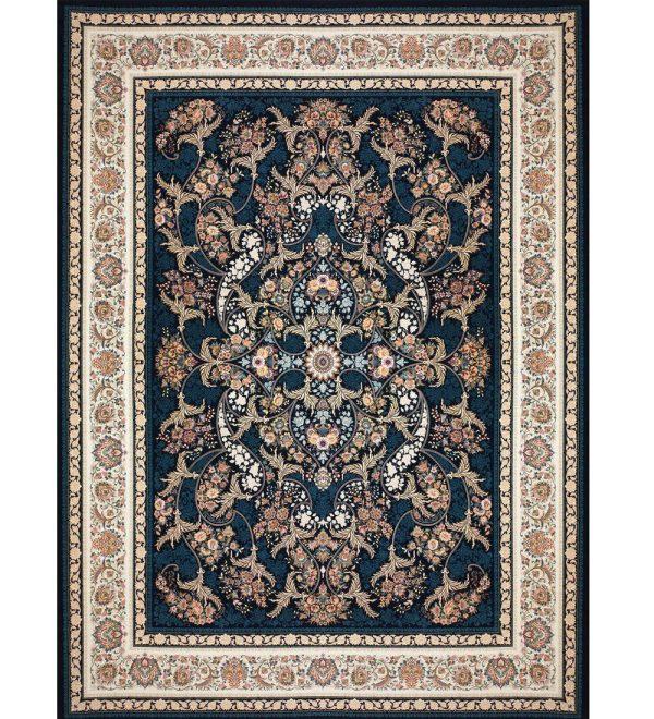 فرش 1200 شانه بزرگمهر طرح گل برجسته زمینه سرمه ای کد 521215110