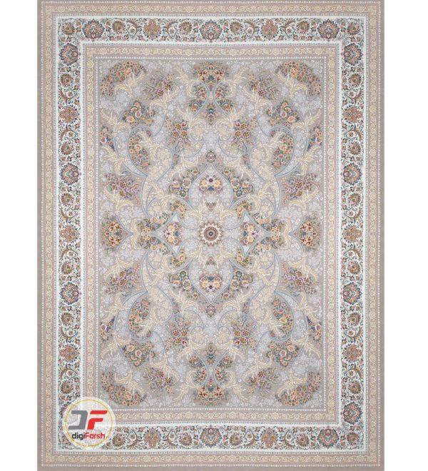 فرش 1200 شانه بزرگمهر طرح گل برجسته زمینه نقره ای ای کد 521215110