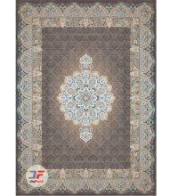فرش بزرگمهر 1000 شانه گل برجسته طرح هالیدی زمینه خاکستری کد 521011624