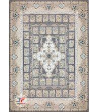 فرش بزرگمهر گل برجسته طرح خشتی زمینه خاکستری کد 521011611