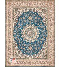 فرش مدرن کلاسیک ۱۲۰۰ شانه طرح گل برجسته زمینه آبی کد ۵۲۱۲۱۵۱۱۱