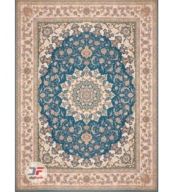 فرش مدرن کلاسیک 1200 شانه طرح گل برجسته زمینه آبی کد 521215111