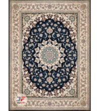 فرش مدرن کلاسیک ۱۲۰۰ شانه طرح گل برجسته زمینه سرمه ای کد ۵۲۱۲۱۵۱۱۱