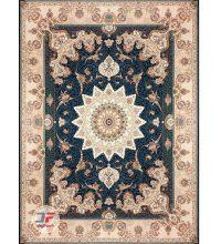 فرش بزرگمهر طرح گل برجسته ۱۲۰۰ شانه زمینه سرمه ای کد ۵۲۱۲۵۱۱۱۳