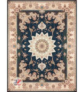 فرش بزرگمهر طرح گل برجسته 1200 شانه زمینه سرمه ای کد 521251113