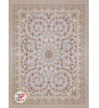 فرش ۱۲۰۰ شانه کلاسیک کاشان طرح گل برجسته زمینه نقره ای کد ۵۲۱۲۱۵۱۱۴