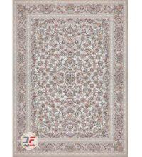 فرش ۱۲۰۰ شانه گل برجسته بزرگمهر طرح افشان زمینه نقره ای کد ۵۲۱۲۱۵۱۱۸