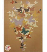 فرش گل برجسته بزرگمهر طرح پروانه زمینه بژ کد ۵۲۱۰۱۱۶۱۲