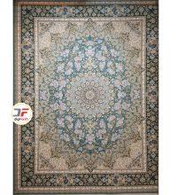 فرش ماشینی بزرگمهر طرح گل برجسته ۱۰۰۰ شانه زمینه آبی کد ۵۲۱۰۱۱۶۰۴