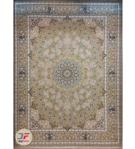 فرش ماشینی بزرگمهر طرح گل برجسته 1000 شانه زمینه کرم کد 521011604