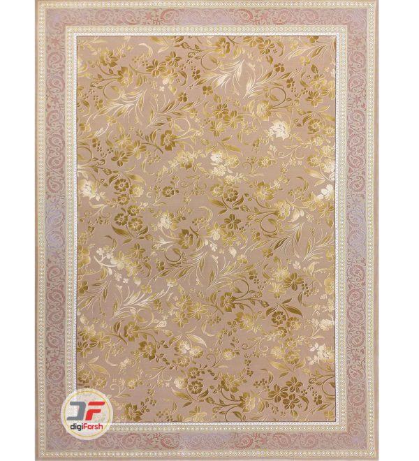 فرش بزرگمهر طرح افشان گل برجسته زمینه بژ کد 521011627