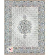 فرش بزرگمهر طرح هالیدی گل برجسته زمینه نقره ای کد ۱۱۶۲۴