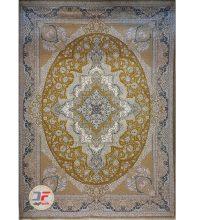 فرش ماشینی گل برجسته کاشان زمینه طلایی کد 521011616
