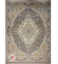 فرش ماشینی گل برجسته کاشان زمینه خاکستری کد 521011616
