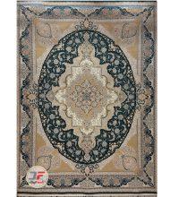 فرش ماشینی گل برجسته کاشان زمینه سبز کد 521011616