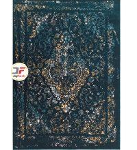 فرش گل برجسته بزرگمهر زمینه سرمه ای کد 521011640