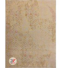 فرش کهنه نمای بزرگمهر گل برجسته زمینه کرم کد ۱۱۶۲۹